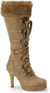 Tan Microfiber Boot with faux fur around top of boot. Heel measures 3