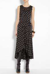 Marc by Marc Jacobs  Black Georgia Dot Tiered Skirt Jersey Dress by