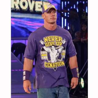 WWE john cena cenation sweatband t shirt cap set purple
