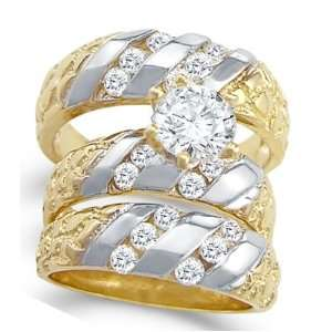 CZ Engagement Ring & Wedding Bands 14k Yellow Gold Bridal (2.00 Carat