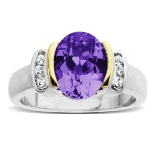 Gold White Topaz and Oval Amethyst Ring, Size 6 Jewelry