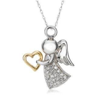 XPY 10k White Gold Diamond Journey Angel Pendant Jewelry