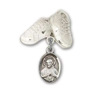 Silver Baby Badge with Scapular Charm and Baby Boots Pin Jewelry