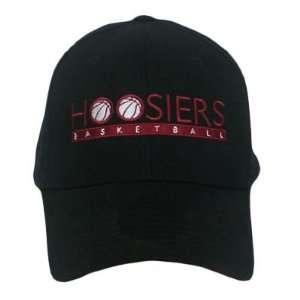 NCAA INDIANA HOOSIERS BASKETBALL BLACK CAP HAT FLEX FIT