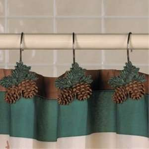 Lodge PINE CONE pinecone SHOWER CURTAIN Hooks bathroom