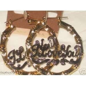14k Gold Filled Pincatch Bamboo Hoop Earrings 3  Name I Love YOU in