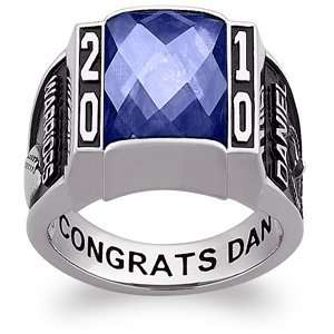 Mens Sterling Silver Traditional Deco Birthstone Class Ring Jewelry