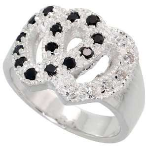 Sterling Silver Double Heart Ring, w/ High Quality Black