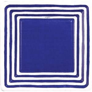 Stripe Border Blue 7 inch Square Plates