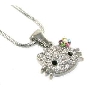 Cute Multi Colored BOW Kitty Charm Necklace Silver Tone