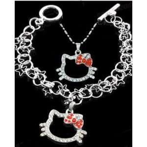 Girls Hello Kitty Red Necklace & Bracelet Set