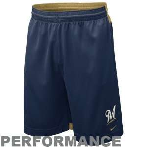 Nike Milwaukee Brewers Navy Blue Dri FIT Performance Training Shorts