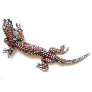 Red Crystal Rhinestone 4 Piece Link Body Lizard Fashion Pin Brooch