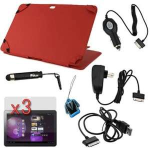 Red Leather Case with Built in Stand + 3 X LCD Screen Protector + Car