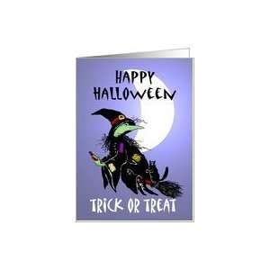 Happy Halloween trick or treat , Witch with cat on broomstick, with