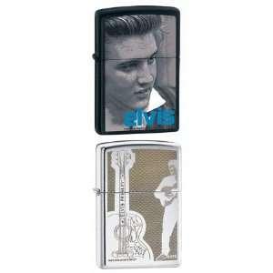 Zippo Lighter Set   Elvis Singer Music Guitar, and Blue