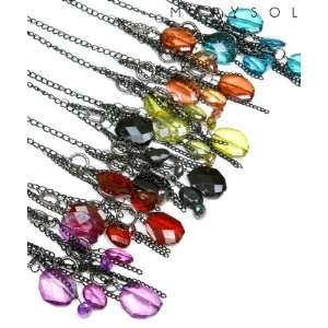 Black Crystal Charms Black Chain Necklace & Earring Set Jewelry