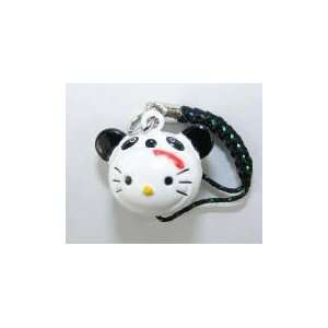 Panda Hello Kitty Bell Straps, Charms or Keychains, a Set