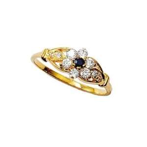 18K Gold Plated Blue & Clear Cubic Zirconia Flower Band Ring Jewelry