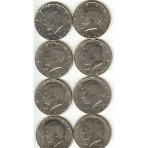 KENNEDY HALF DOLLARS SET OF 8 COINS 4 YEARS OF P AND D MINT MARKS 1985