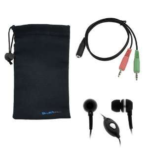 GTMax Black 3.5mm Soft Gel Microphone Headset + Headset to PC adapter