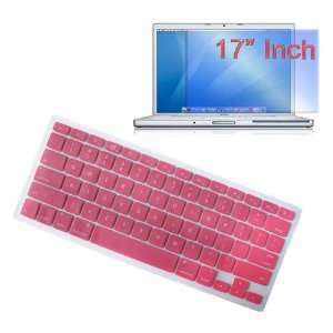 Premium Pink Soft Silicone Keyboard Skin Cover + 17 inch Clear screen