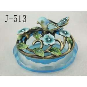 Glass Jewelry Trinket Box W Bird and Crystal Flowers: Home & Kitchen