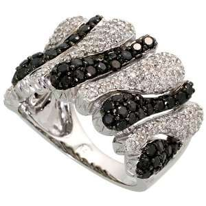 White Gold Ring, w/ 2.0 Carats White & Black Brilliant Cut Diamonds