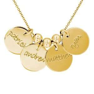 Posh Mommy Engravable 4 Disc Pendants   Yellow Gold Jewelry