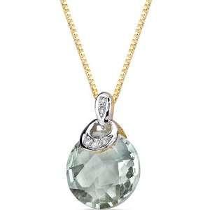 carat Checkerboard Cut Green Amethyst Diamond Pendant Peora Jewelry