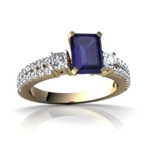 Gold Emerald cut Genuine Sapphire Engagement Ring Size 7 Jewelry