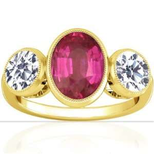 18K Yellow Gold Oval Cut Pink Sapphire Three Stone Ring Jewelry