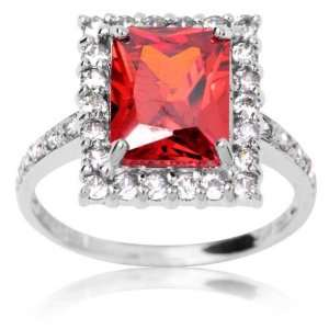 10k White Gold and Emerald Cut Red Cubic Zirconia Embellished Ring 6.0