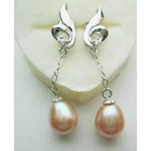 Pearl Earrings with Sterling Silver   Pink Dangle Pe1100