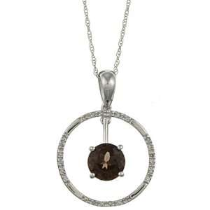 13cttw Round Smokey Topaz and Diamond Circle Pendant Necklace Jewelry
