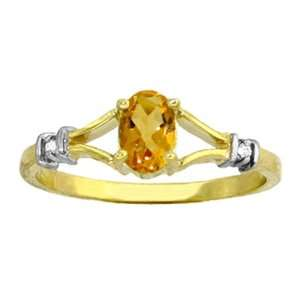 Genuine Oval Citrine & Diamond 14k Gold Ring Jewelry