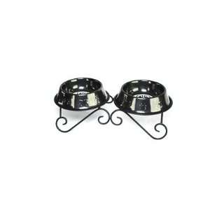 Pets DDSBLK Double Diner Dog Stand with 2 Bowls in Black