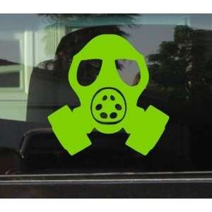 GAS MASK HEAD STYLE #2   5 LIME GREEN   Vinyl Decal WINDOW Sticker