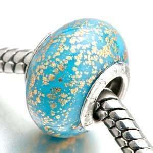 Gold Spots Against Blue Beads Fits Pandora Charm Bracelet Pugster