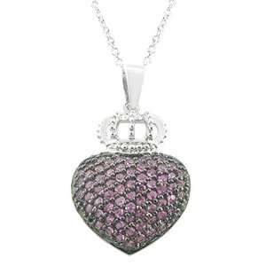 plated with Dark Pink Cubic Zirconia Heart and Crown Necklace Jewelry