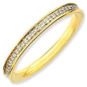 Sterling Silver 1/5 ct Diamond Gold plated Ring Jewelry