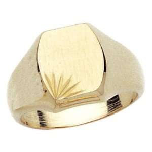 18K Gold Plated Rounded Signet Ring   Size 8 Jewelry