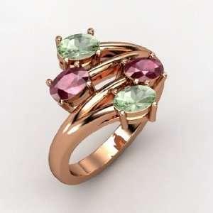 Four Together Ring, 14K Rose Gold Ring with Rhodolite Garnet & Green