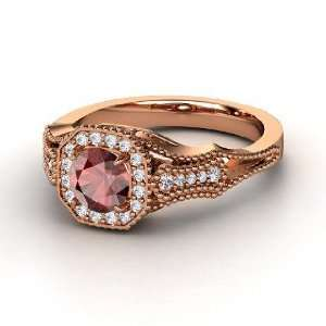 Melissa Ring, Round Red Garnet 14K Rose Gold Ring with