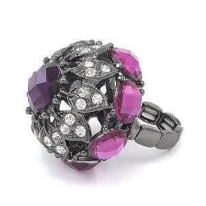 Luxurious Purple Rhinestone Flower Chunk Stretch Ring Fashion Jewelry