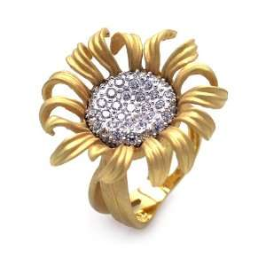 Sterling Silver Sun Flower Gold Plated CZ Ring Size 5 Jewelry