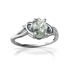 14K White Gold Oval Genuine Green Amethyst Ring Size 4 Jewelry
