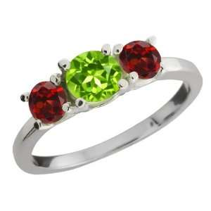 1.34 Ct Round Green Peridot and Red Garnet 18k White Gold