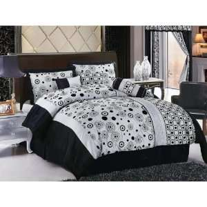 Flocking Circles Satin Comforter Set Bed In A Bag Queen Black/Grey