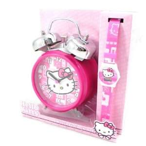 Box clock Hello Kitty + wrist watch.